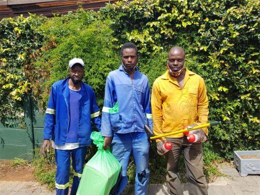 The hard-working Green Crew team, William Matsheke, Tobias Moyo and Themba Matema keep Greenside spick and span